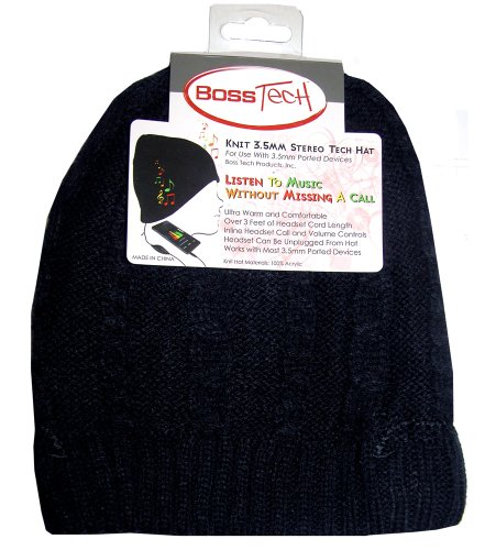Boss Tech Products, Inc. Btp-Hat-Blkbrd Stereo Tech Cable Knit Hat With Built-In Stereo Headset - Retail Packaging - Black