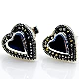 'Queen of Hearts' Sterling Silver Black Onyx, Marcasite Stud Earrings