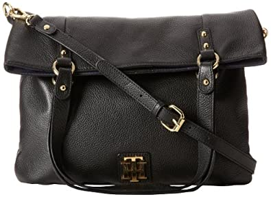 Tommy Hilfiger Back To Cool Pebble Foldover Tote Cross Body Bag,Black,One Size