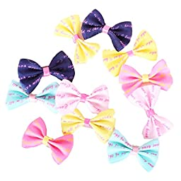 20Pcs Dog Hair Clips Small Bowknot Pet Grooming Products Mix Colors Varies Patterns Pet Hair Bows Dog Accessories