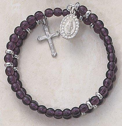Lavender Wrap Around Five Decade Catholic 6MM Rosary Bracelet Fine Religious Jewelry