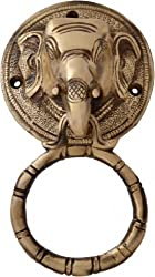 Two Moustaches Brass Elephant Face Door Knocker