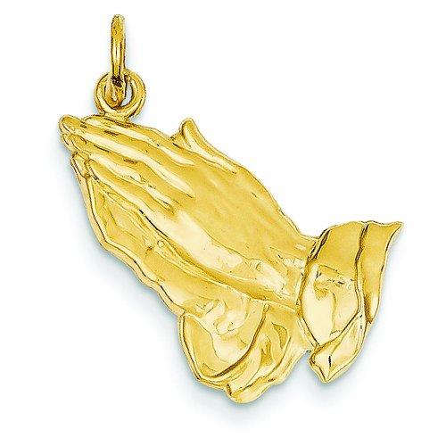 14K Yellow Gold Praying Hands Pendant Charm Jewelry