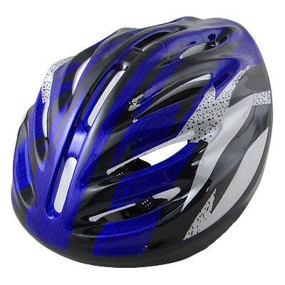 Women Men Adult Black Blue Bicycle Bike Cycling Skating Striped Helmet by sourcingmap