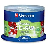 Verbatim 95159 700 MB 2x-4x DataLifePlus Silver Inkjet Printable Rewritable Disc CD-RW, 50-Disc Spindle