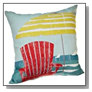 Beach Tapestry Umbrella and Red Chair Pillow