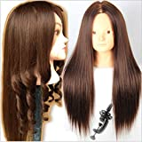 Royalvirgin Cosmetology Mannequin Heads with Hair Mannequin Head Brown Maniqui Maniquies Women Female no Makeup Training Hairstyle Cutting (Color: no Make up)