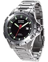 Detomaso Matera Tritium Solar Silver/Green Men's Quartz Watch with Black Dial Analogue Display and Silver Stainless Steel Bracelet DT2044-E