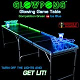GLOWPONG Glowing Game Table - Competition Green vs Ice Blue
