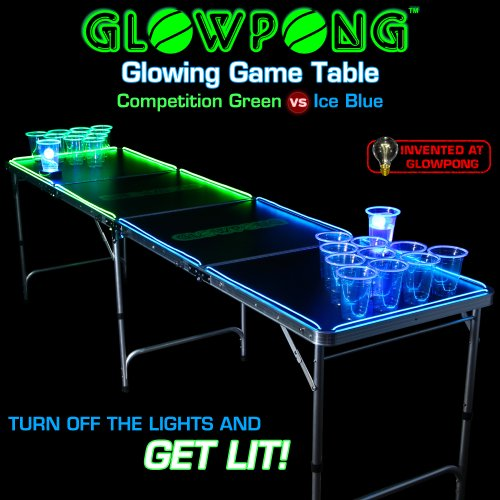 Review Of GLOWPONG Glowing Game Table - Competition Green vs Ice Blue