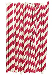 Striped Paper Straws (Hot Pink, 25)