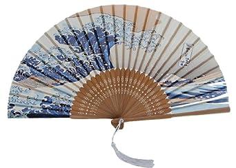 Authentic japanese hand fan silk model ocean wave ceiling fan accessories - Japanese paddle fan ...