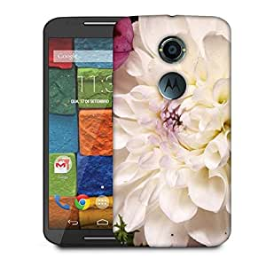 Snoogg Dahlia White Flower Designer Protective Phone Back Case Cover For Moto X 2nd Generation