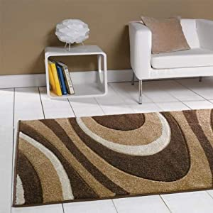 Flair Rugs Orleans Honesty Hand Carved Rug, Brown/Beige, 160 x 220 Cm from Flair Rugs