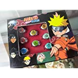 Japanese Anime Cosplay Accessories Naruto Akatsuki Members Symbol Cosplay Ring Set, All 10 Members in a set