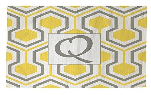 Thumbprintz Dobby Bath Rug, 4 By 6-Feet, Monogrammed Letter Q, Yellow Honeycomb front-465039