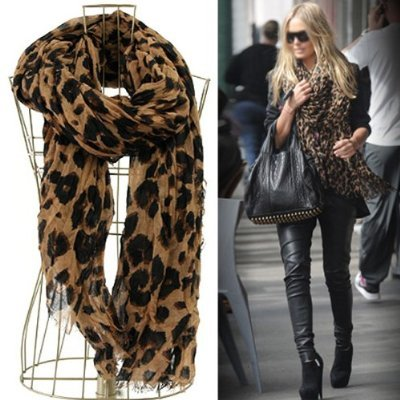 ECOSCO Women Fashion Leopard Pattern Animal Print Shawl Scarf Wrap with Free Gift(Purse Hook)