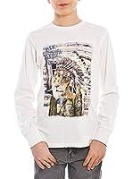 MEK Camiseta Manga Larga Jersey Print (Gris Claro)