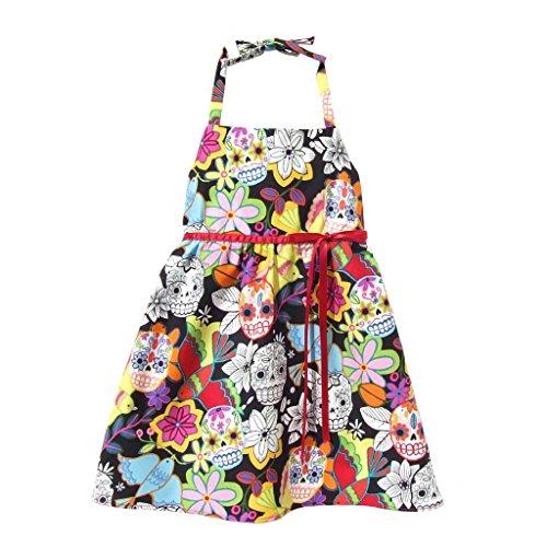 Kid'S Hemet Sugar Skulls And Flowers Halter Dress Black 8