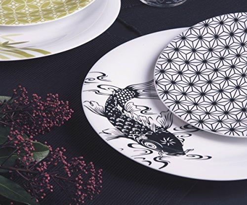 Excelsa Magatama Service Assiettes-18 Pièces-Porcelaine Noir 19 X 20 X 33 cm