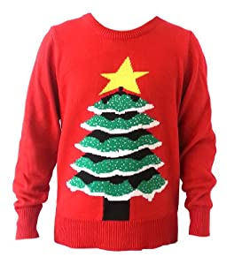 Vintage Christmas Tree Crew Neck Pullover Xmas Sweater double layers warm jumper