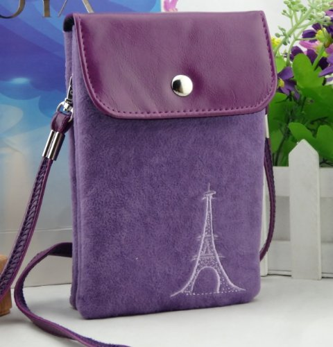 Big Mango Multipurpose Famous France Eiffel Tower Design Two Separated Pouches Cell Phone Soft Fuzz And Pu Leather Bag Crossbody Purse For Apple Iphone 4 4S Iphone 5 5S 5C Samsung Galaxy S4 S3 Galaxy Note 2 Htc Money Key Cards With Shoulder Strap & Magnet