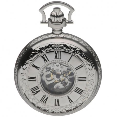Mount Royal Chrome Plated Mechanical Double Half Hunter Pocket Watch B42m