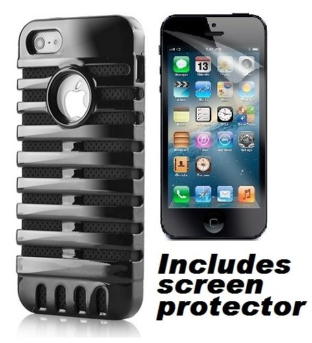 Black Retro Elvis Style Mic Microphone Apple Iphone 5 Cover Case W/ Screen Protector