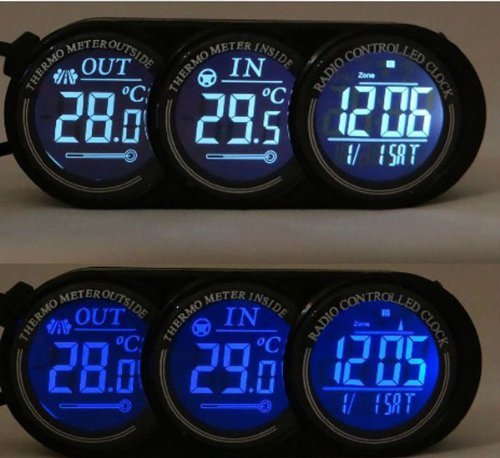 Nuoya001 Car In/Out Thermometer Led Backlight Calendar Clock Display 12V Alarm Celsius