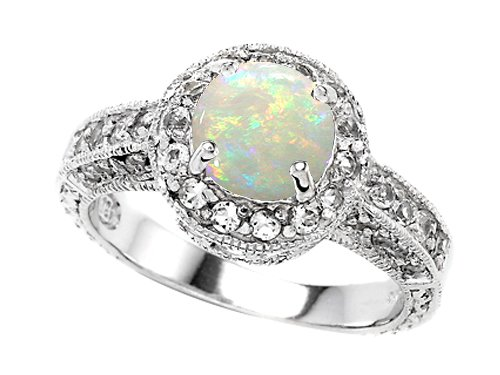 Original Star K Genuine Round Opal Engagement Ring