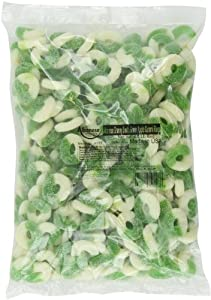 Albanese Confectionery Gummi Ring Sour Apple Green & White, 4.5 Pound