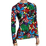 Marvel Comics Heroes Warm Underwear SEPARATES Women's Juniors Stretch Leggings and Top Separates (Large, Red Top)