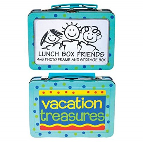 "4 x 6 Inch Blue Lunch Box/Frame with ""Vacation Treasures"" Design - 1"