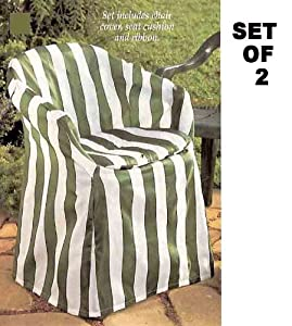 Amazoncom outdoor chair covers with pads green stripe for Decorative furniture covers