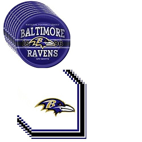 NFL Baltimore Ravens Party Pack Including Plates and Napkins - 8 Guests