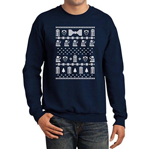 Teestars Men'S - Doctor Christmas Sweater Sweatshirt Large Navy