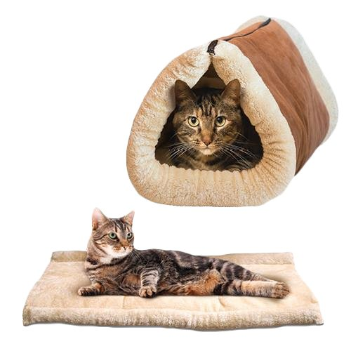 Cat tents, Petforu 2 in 1 Tube Cat Mat Bed Kitty Cat Toy Pet Winter Soft Windproof Gift ¡­