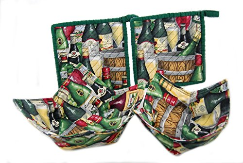 Set Of 2 Quilted Chenille Pot Holders And 2 Fabric Microwave Bowls - Wine Bottle With Bucket - Handcrafted In The Usa - Limited Edition - Handmade Set - Satisfaction Guaranteed