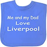Me and my Dad Love Liverpool Velcro Baby Bib with Choice of 9 Colours - 100% Cotton. Royal Blue