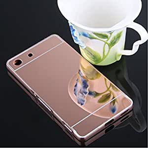 nKarta (TM) Branded Luxury Metal Bumper Acrylic PC Mirror Back Mobile Cover Case For Sony Xperia M5 / M5 Dual Sim - Rose Gold