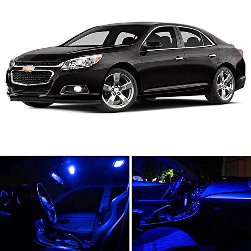Chevy Malibu 2013 & Up Blue Premium Led Interior Lights Package Kit (5 Pieces)