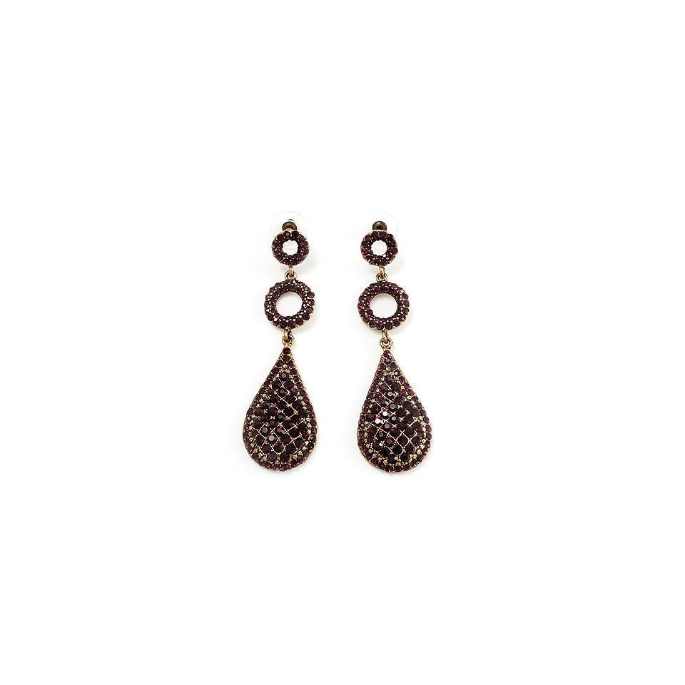 Antique Gold Purple Swarovski Crystal Teardrop Earrings   8cm Drop