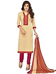 Kanchnar Women's Beige and Pink Mix Cotton Printed Casual Wear Dress Material,Diwali Great Indian Festival sale Traditional Clothing for Girls,Navratri Special Collection,Gift to Wife,Mom