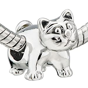 Cute Cat Pugster Bead Fits Pandora Beads Charm Bracelet