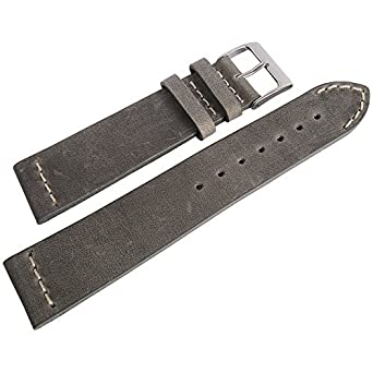 ColaReb 18mm Venezia Grey Distressed Leather Mens Watch Strap Made ...