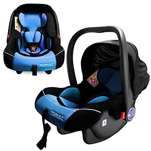 XOMAX XM-B03 Seggiolino bebè per auto + Ovetto auto + Gruppo 0+ (0-13 kg) + color grigio/nero/blu + Cintura di sicurezza a 3-punti + Protezione laterale ottimale + parasol + lavabile a 30 ° C