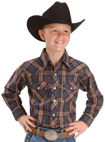 Wrangler Boys' Assorted Plaid Western Shirt Plaid X-Large front-944489