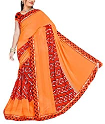 Kartik Fashion Women's Georgette Saree - 35_Orange