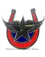 Winged Star Red Horseshoe Belt Buckle