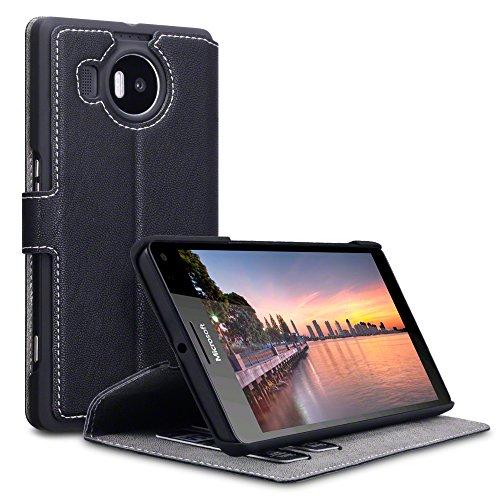 Microsoft Lumia 950 XL Case, Terrapin Cover di Pelle con Funzione di Appoggio Posteriore per Microsoft Lumia 950 XL Custodia Pelle, Colore: Nero